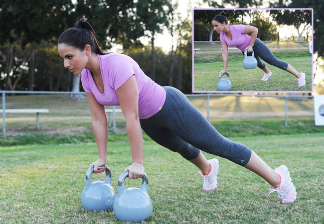 Kettlebell renegade row - a challenging exercise for your arms, abs, back and core stability. DO IT TODAY! :)