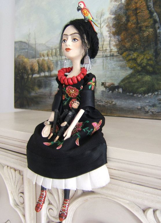 Frida Kahlo Black Hand made Art Dolls Paper by BarbaraCharacters, $224.00