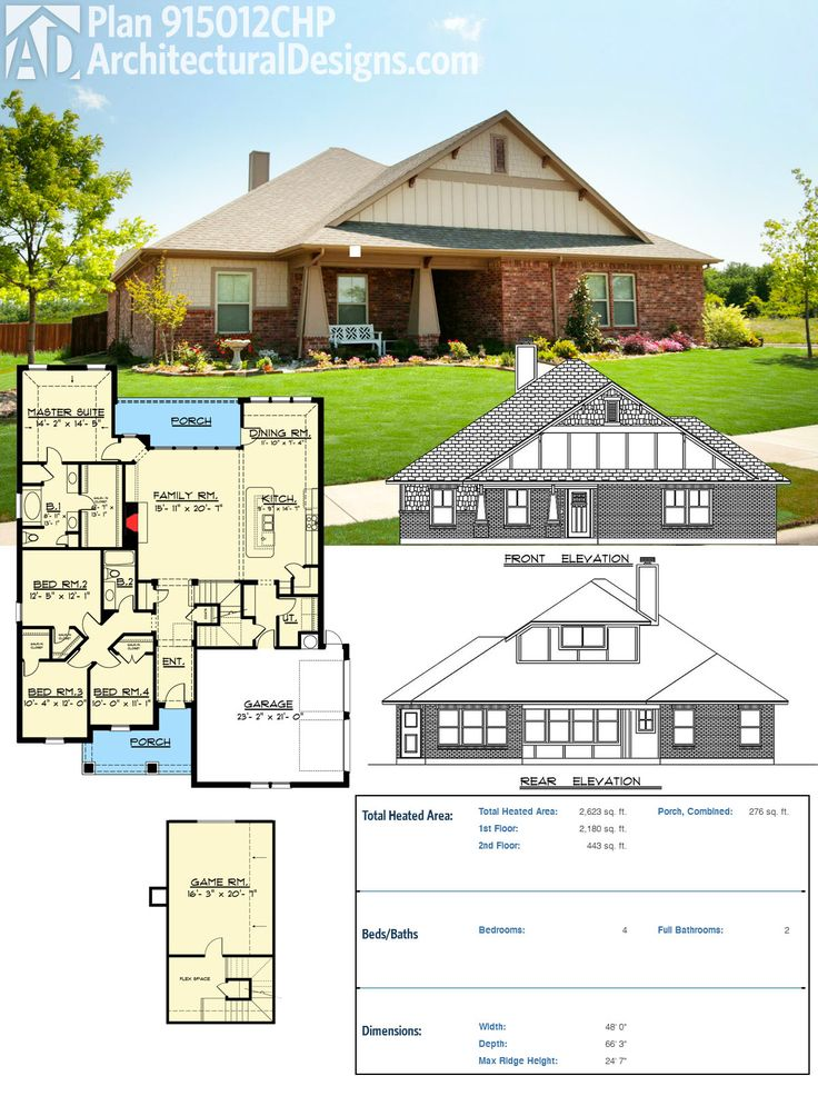 Plan 915012chp craftsman house plan with game room and for Flexible house plans