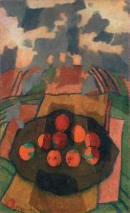 Felice Casorati (Novara 1883 - Torino 1963), Natura morta con arance (1955), Olio su tela, 90x55cm