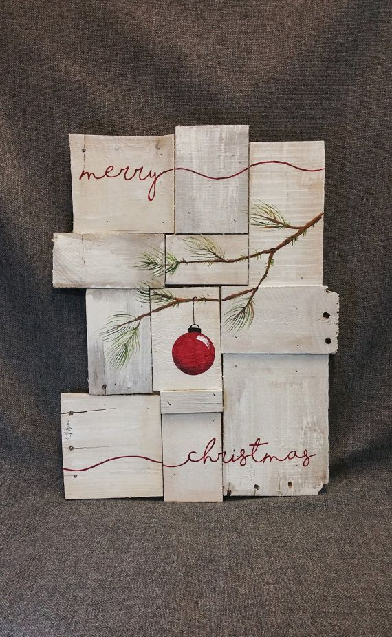 Rustic Christmas decor, Pallet art, Farmhouse decor, One of a kind, merry, ORIGINAL, Christmas Hand painted, Shabbt chic, Distressed   This is the ORIGINAL, One of a kind for sale. Acrylic painting on reclaimed Pallet boards. This unique piece is appx. 19tall x 15 wide  This abstract Christmas art piece is on a white-washed background with the word merry painted in red across the bottom. It is perfect for a personalized rustic touch to your Christmas decorating. ***This is the one and only…