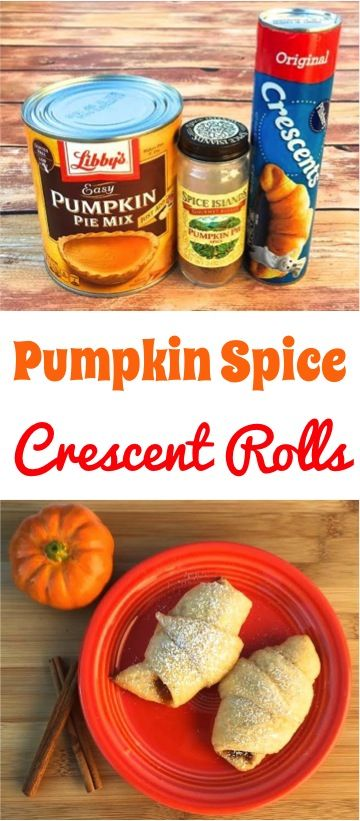 Pumpkin Spice Recipe! Every bite of these these delicious Crescent Rolls is filled with the yummy flavors of Pumpkin Pie and Pumpkin Spice all wrapped up in a warm yummy crescent roll topped with Powdered Sugar!