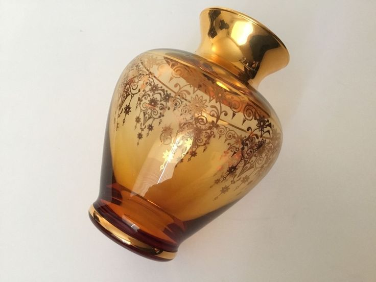 Vecchia Murano Brown/Gold Color Glass Vase With 24 K Gold Hand Painted