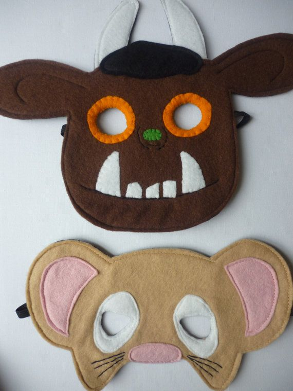 Hand finished Gruffalo and Mouse set mask/toy/dress up/costume for children. £12.00, via Etsy.