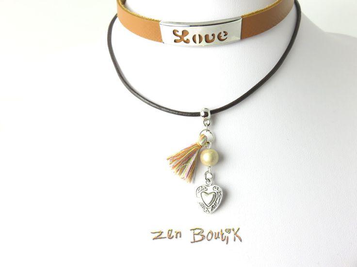 Collier Choker Double Rang, Collier Ras de cou Choker Cuir Zen, Plaque Love Inox, Cadeau Valentin, : Collier par zenboutik