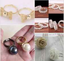 Price $0.99 Promotion Fashion Jewelry Rose Bowknot Pearl Crystal Ring Party Ring