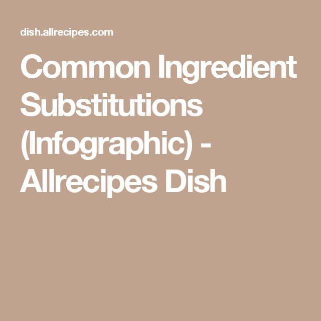 Common Ingredient Substitutions (Infographic) - Allrecipes Dish