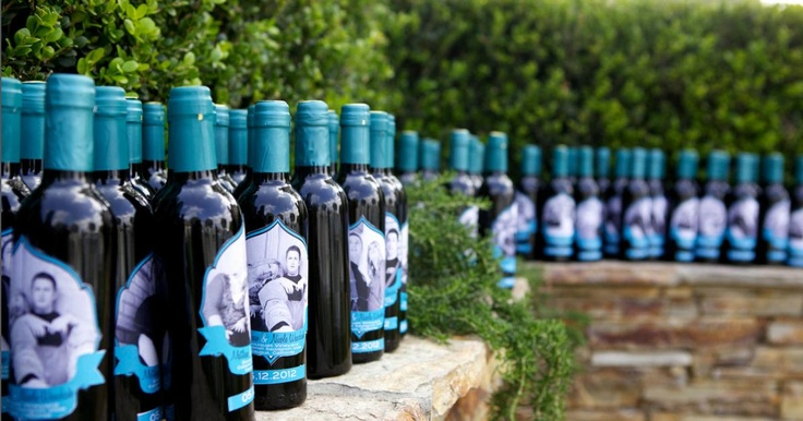 Our personalized wine favors for our guests. Labels courtesy of: http://www.etsy.com/shop/bugandboo