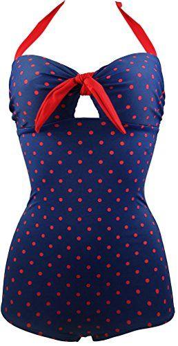 Bettydom Damen Bademode kleine Punkt Kirsche Retro mit Bein Hotpants Typ Plus Size padded Bikini hohe Taillen Badeanzug in 5 Farben (XXXL(EUR 42-44), Blau&Rot) Bettydom http://www.amazon.de/dp/B01ANBERKE/ref=cm_sw_r_pi_dp_gZB4wb0XSY794