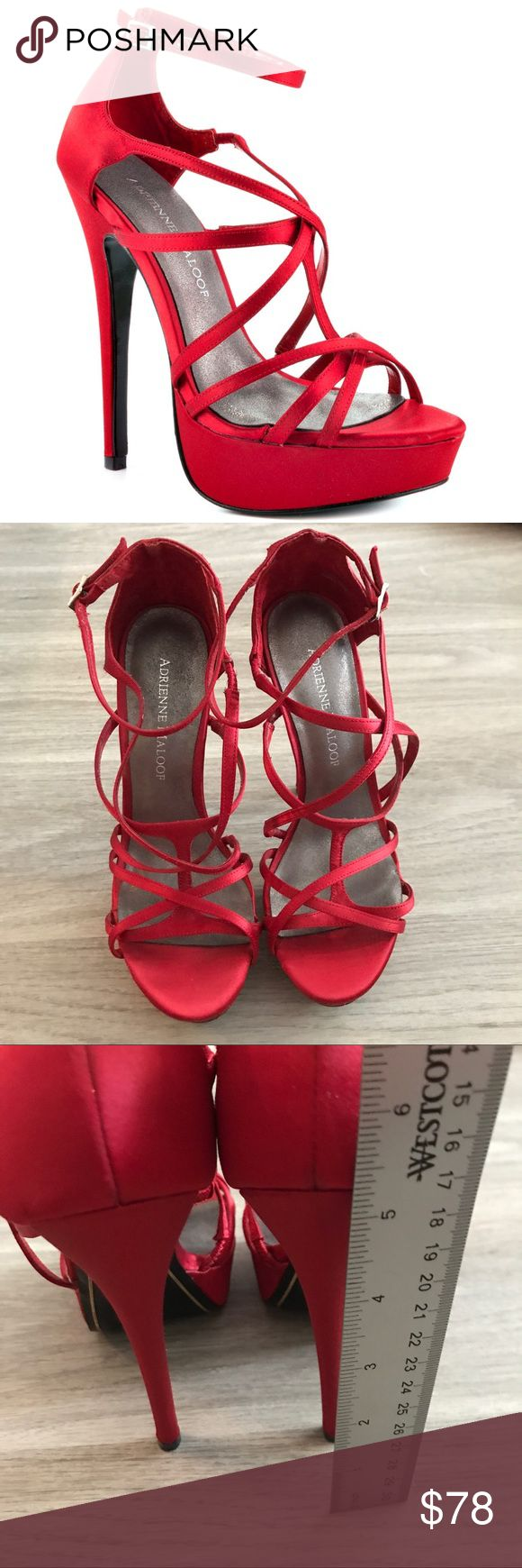 """Size 6.5 Adrienne Maloof Ysabel Satin Heel You'll love the Ysabel! This sandal has a bright satin upper and straps. A 5 1/2"""" heel and 1"""" platform complete the shoe. There are light signs of wear on the sole but the upper is in new condition. Adrienne Maloof Shoes Heels"""