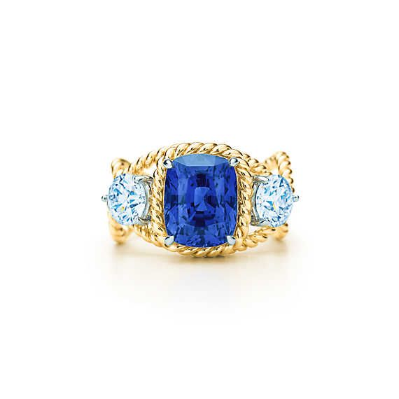 Tiffany & Co. Schlumberger® Rope ring with a 5.46-carat unenhanced sapphire.