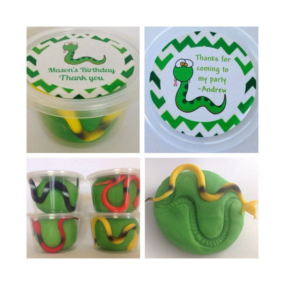 6 Snake Play Dough Party Favours. Reptile Party Bag. by Dough4Fun