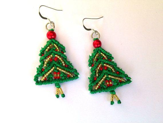 Christmas Earrings Macrame EarringsChristmas Tree by MACRANI