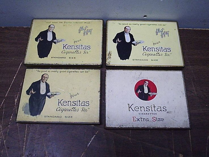 4 Old all Different Kensitas Flat 50 Cigarette Tobacco Tins J. Wix & Sons