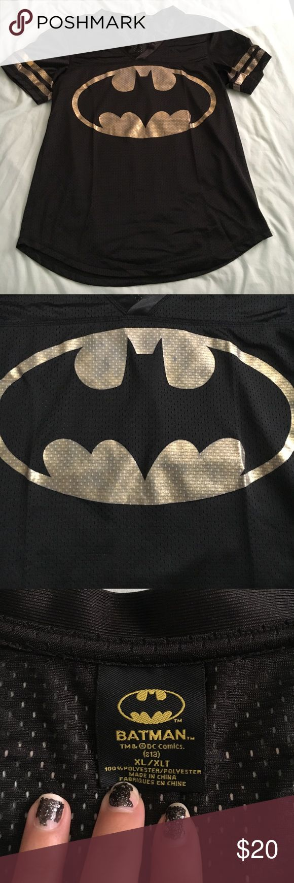 Batman Football Jersey Black and gold women's #batman football jersey. There is some wear to the gold bands around the arms (see pictures). Size x-large. #dccomics Tops Tees - Short Sleeve