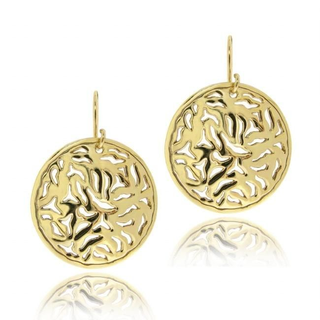 These simple yet elegant earrings are crafted of sterling silver with 18-karat yellow gold plating. The earrings feature a filigree disc design dangling under hook findings. Metal: Gold over silver St