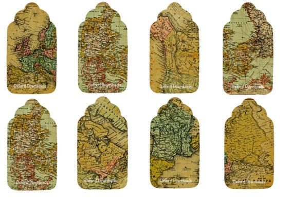 Vintage Map Gift Tags Printable Gift Tags Map by OxfordDownloads