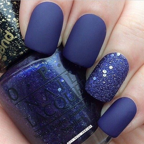 Matte Blue with Glitter accent nail