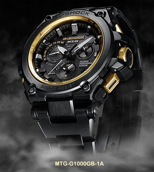 The G-SHOCK MTG-G1000GB-1A is a Black and Gold edition with a black ion-plated exterior, gold buttons and crown, and a gold IP dial ring. The watch has a diamond-like carbon (DLC) treatment including the band clasp to protect against scratches. G-Shock Japan announced a December 2015 release.