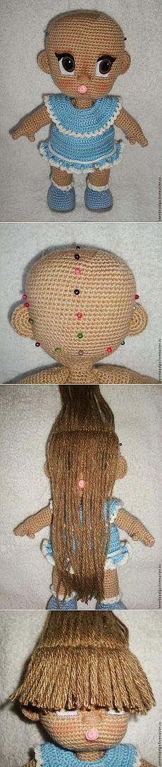 Как сделать пышную прическу для вязаной куколки
