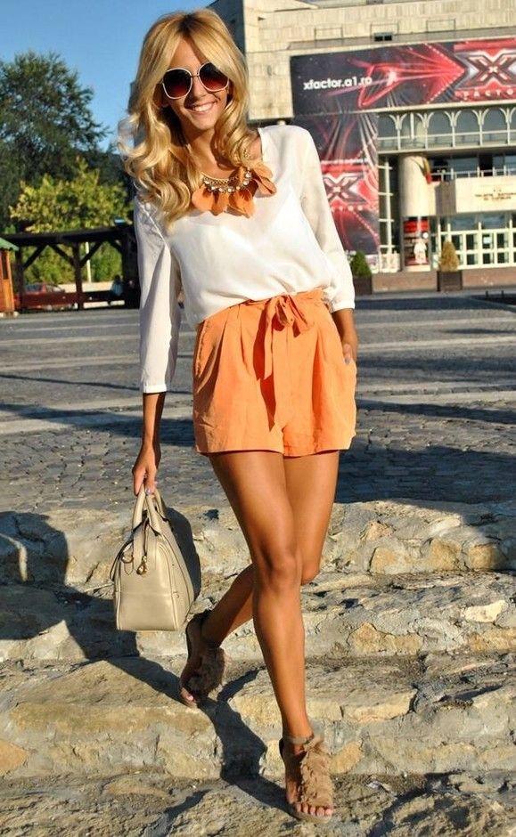 @roressclothes closet ideas #women fashion orange skirt White Blouse
