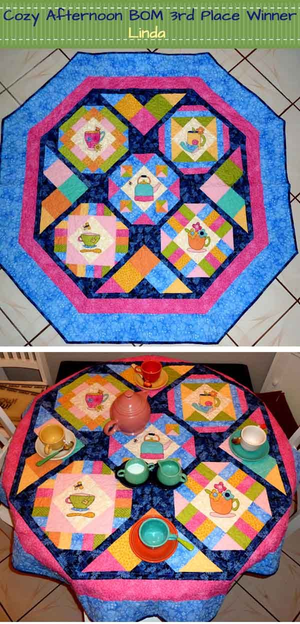Applique and piecing are featured on this Cozy Afternoon Block of the Month quilt. Winner-Third Place Tie