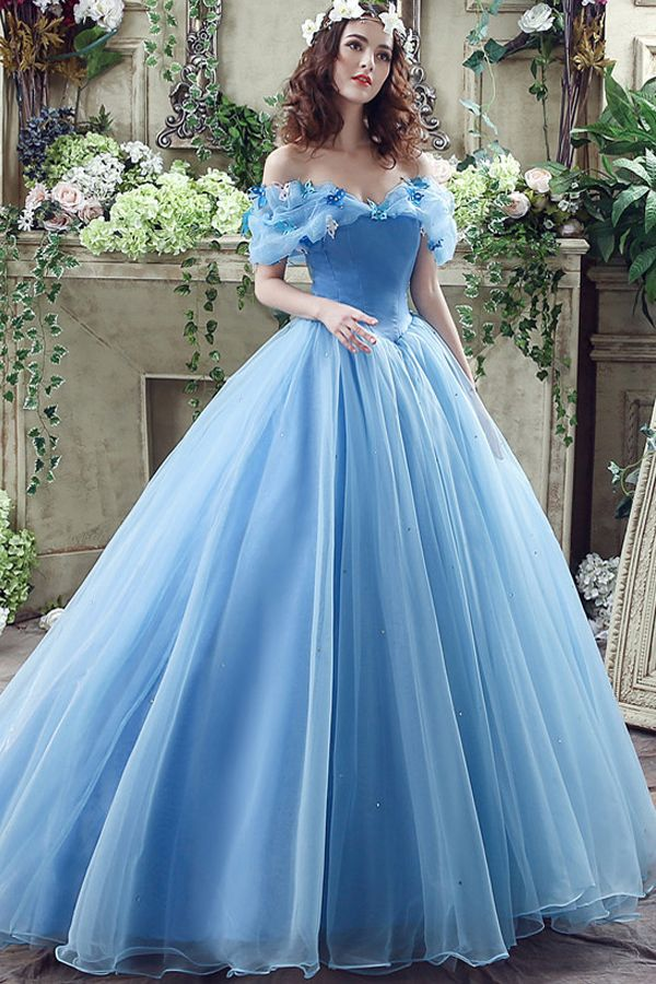 40f3a1462f571 In Stock Gorgeous Organza Off-the-shoulder Ball Gown Quinceanera ...