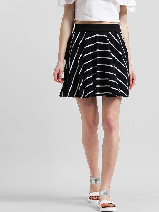 ff0b78509 Texco Women Black & White Striped Flared Mini Skirt -   939   Shorts ...