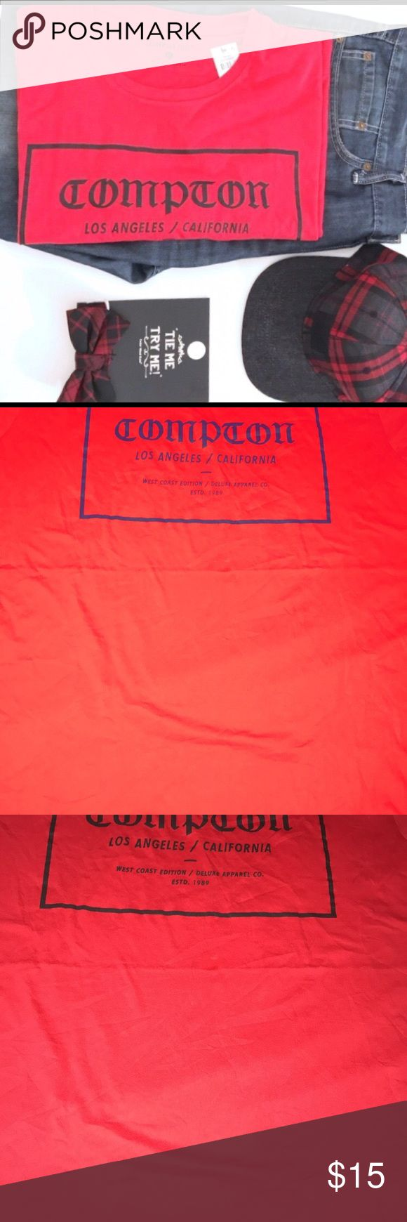 NEW Men's XL GRAPHIC COMPTON LOS ANGELES TEE Brand new t-shirt size XL. Originally purchased for a Posh photo prop so I have no use for it. Lol  Red and black just as shown in the photo. Offer away! ❤️🤷🏽‍♀️ Bundle and save! Shirts