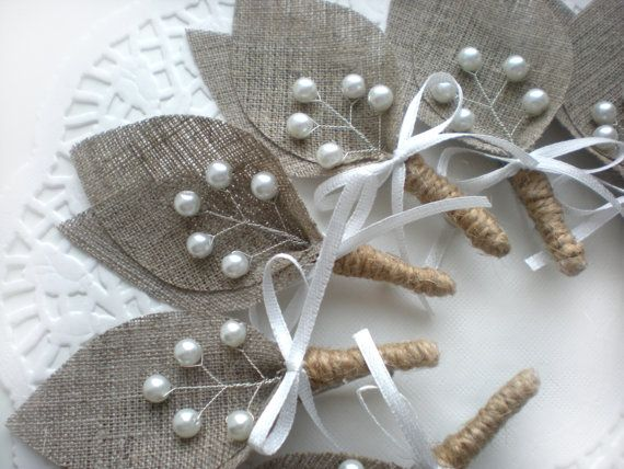 NEW  Set of 10 Burlap Groom's Boutonniere for by BrightBride, $75.00