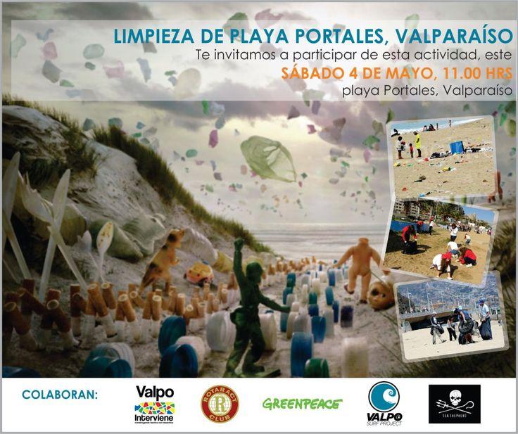 Afiche de Limpieza de Playa Portales por Valpo Interviene