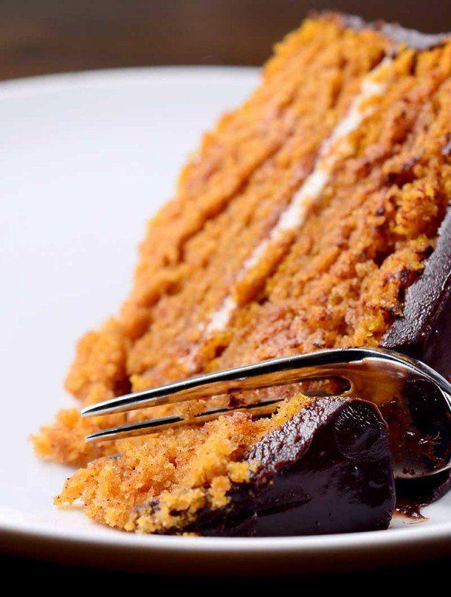 Pumpkin Cake with Chocolate Ganache