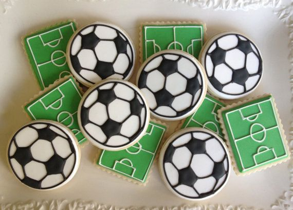Soccer Sugar Cookie Collection by NotBettyCookies - For all your Football cake decorating supplies, please visit http://www.craftcompany.co.uk/occasions/party-themes/football-party.html
