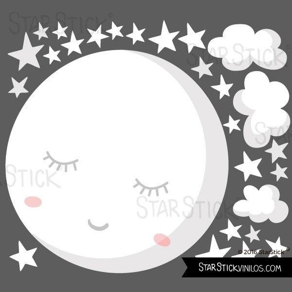 Vinilo Para Bebe Luna Llena Con Estrellas Luna Blanca Startick Vinilos Para Bebes Vinilo Infantil Habitacion Infantil Blanca