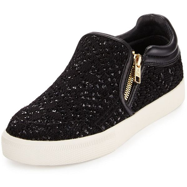 Ash Intense Bis Sequined Skate Sneaker found on Polyvore featuring shoes, sneakers, black, flats, black platform flats, black sneakers, black flats, black shoes and round toe flats