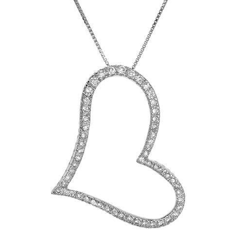"""Stort og flott hjerteanheng i 925 Sterling sølv. Hjertet er dekorert med hvite cubic Zirkonia. Sølvkjedet følger med. Lengde: Ca 45,7 cm (18 """"). Anheng størrelse: Lengde: 45 mm. Bredde: 35 mm. Total vekt: 8,3 g. #smykker #kjede #anheng #sølvkjede #hjerte #hjertesmykke #zirkonia #zendesign"""