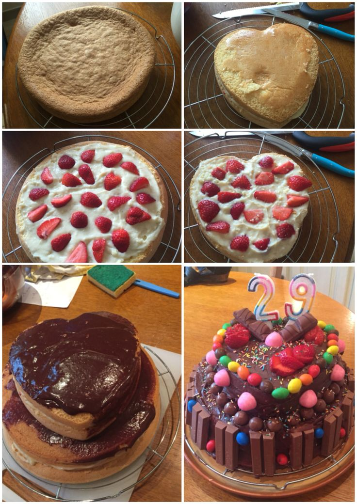 Birthday cake kit kat m&ms facon fraisier. #cooking #birthday cake