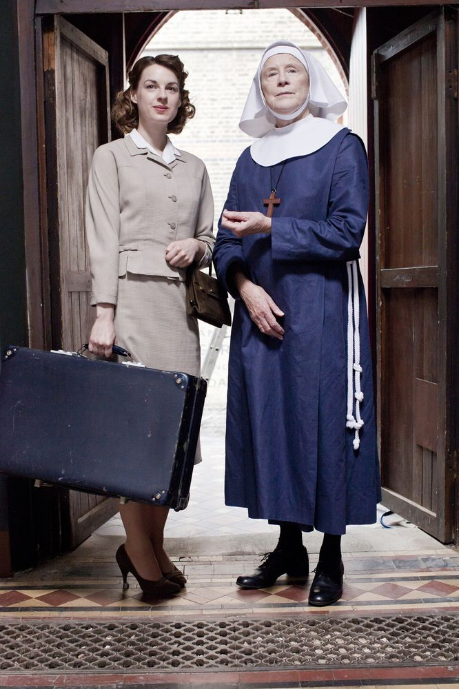 """""""Call The Midwife"""" Jenny Lee (Jessica Raine) and Sister Monica Joan (Judy Parfitt). Photo by John Rogers, © Neal Street Productions, 2011."""