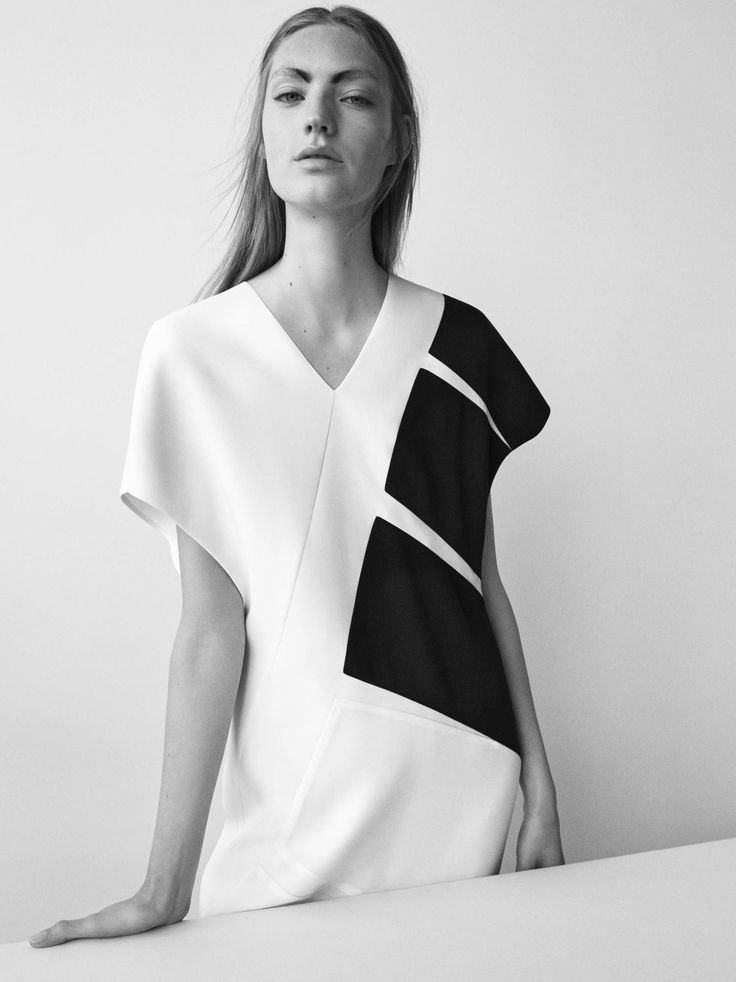Contemporary Minimalist Style - graphic panel dress; minimal fashion details // Narciso Rodriguez Resort 2017
