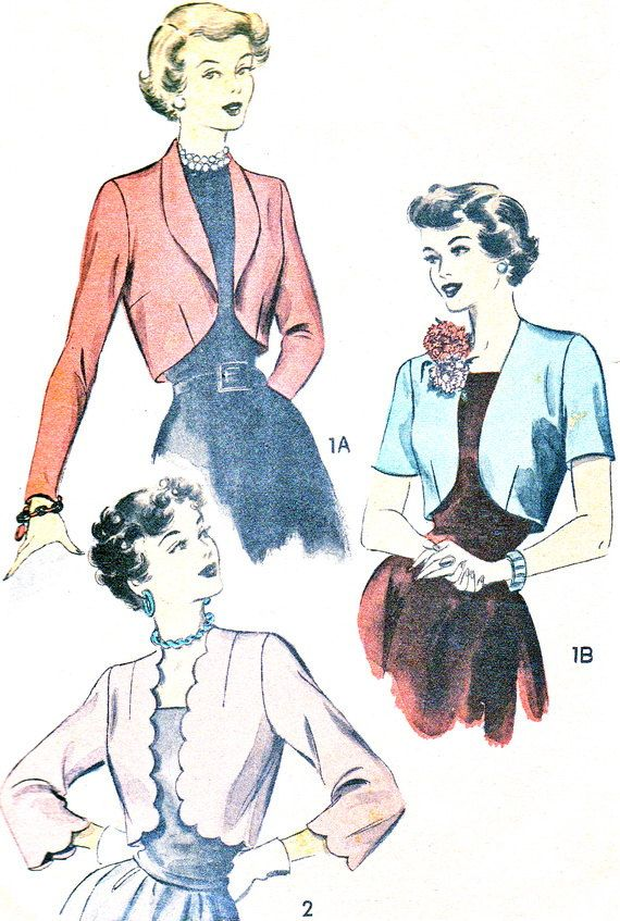 I like the scalloped version. 1940s Bolero Pattern Advance 4897 Long or Short by paneenjerez, $20.00