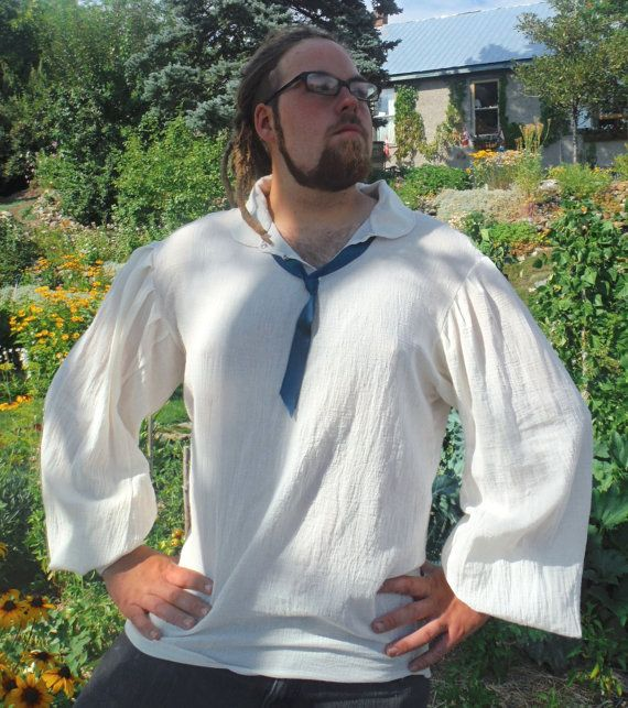 Mens Peasent Shirt with Farmers Bowtie by TheNerdInAllOfUs on Etsy