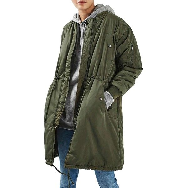 Women's Topshop Winston Bomber Parka (€125) ❤ liked on Polyvore featuring outerwear, coats, green, green parka coat, bomber parka, bomber coats, parka coat and green parkas