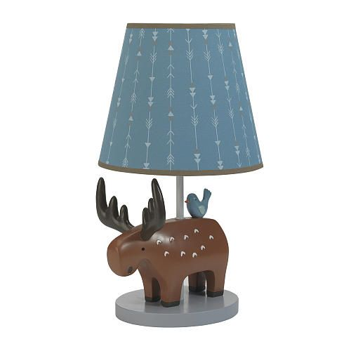 """Lambs & Ivy® Tippy Canoe Blue/Brown Moose Lamp with Shade and Bulb - Lambs & Ivy - Babies """"R"""" Us"""