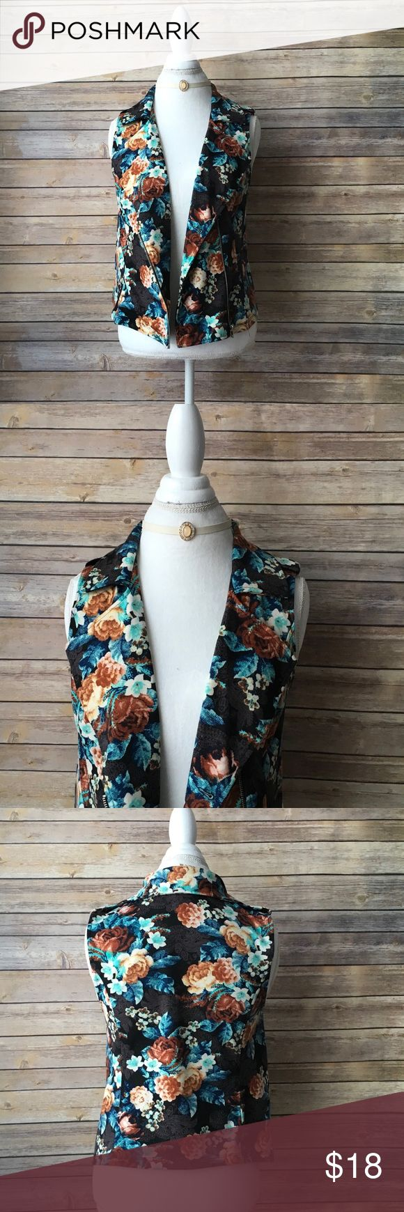 Xhilaration Floral Vest Size Medium Xhilaration Floral Vest Size Medium NWOT Xhilaration Jackets & Coats Vests