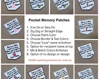 Personalized Memory Patch - POCKET PATCH, Choose Love Dad or Other Name, Patch & Thread Colors, ZigZag or Straight Edge, Sew/Iron On, 4 inch