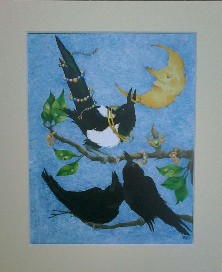 Afdrukken; De stelende ekster/kraai kunst/raaf kunst/vogels/grillige kunst/dancingharepottery/kunstenaar ontwerp door DancingHarePottery op Etsy https://www.etsy.com/nl/listing/276268412/afdrukken-de-stelende-eksterkraai