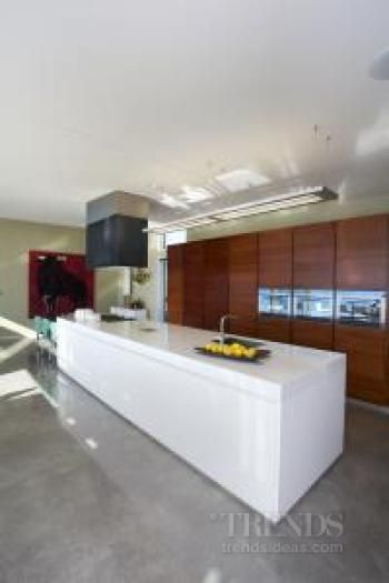 Kitchen in modern new home with Tasmanian blackwood cabinets and Smeg appliances