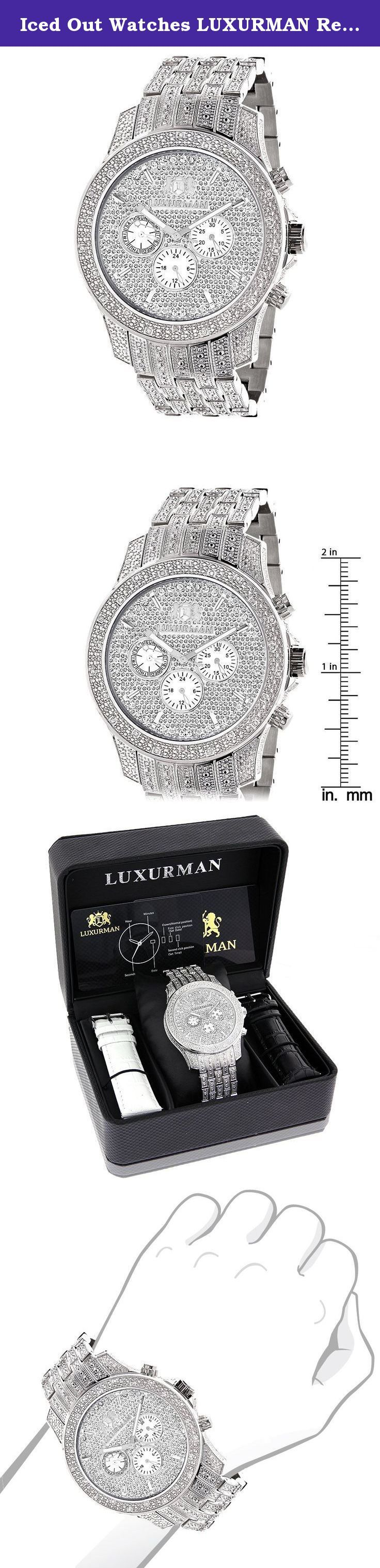Iced Out Watches LUXURMAN Real Diamond Watch for Men in Stainless Steel with Diamond Band 1.25ct. Affordable Iced Out Watches for men! This LUXURMAN Mens Diamond Watch with diamond band features 1.25 carats of genuine diamonds masterfully set on the bezel, sides, lugs and the band of this silver stainless steel watch. The face of this LUXURMAN wrist watch showcases three white mother of pearl chronograph subdials and a date display at 4 o'clock. This diamond watch for men is…