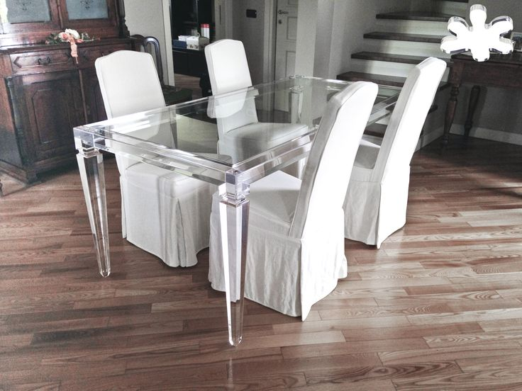 Lucite Acrylic dining table - Acrylic furniture -  TAVOLI PRANZO IN PLEXIGLASS |  Tavolo trasparente in plexiglass 01.mod. LV1 | Tavolo plexiglass cm.180 x 90 h.76 - telaio sp.mm.60 - gambe sez.mm.80 #lucite #design #homedecor #acrylic