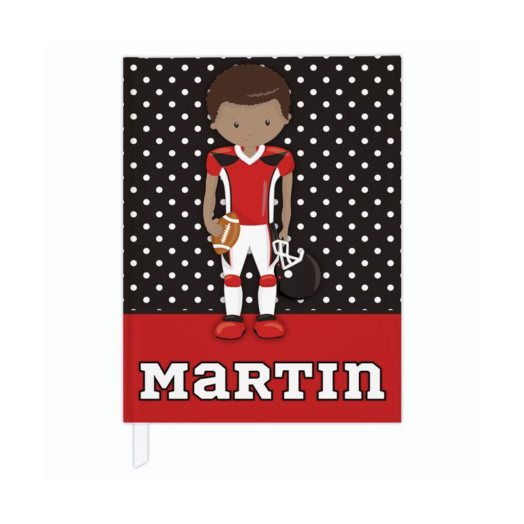 Hardcover journal in football theme, personalized kids journal, lined journal or blank journal, football gifts - red & black/dark skin by PaperKKids on Etsy